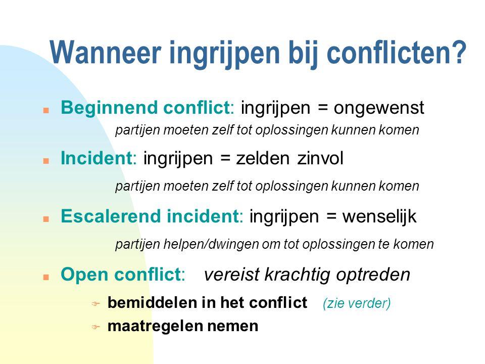 Wanneer ingrijpen bij conflicten