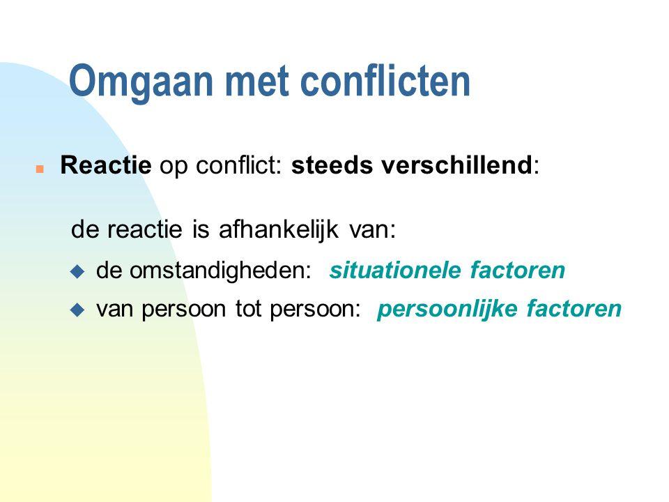 Omgaan met conflicten Reactie op conflict: steeds verschillend: