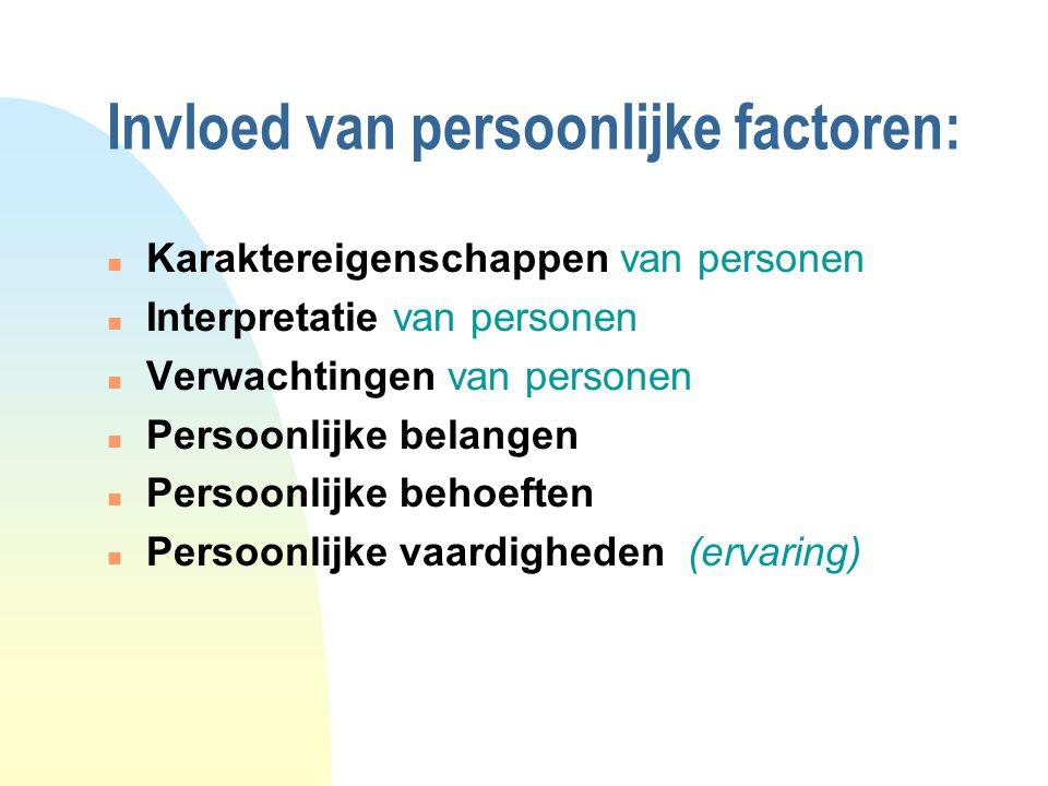 Invloed van persoonlijke factoren: