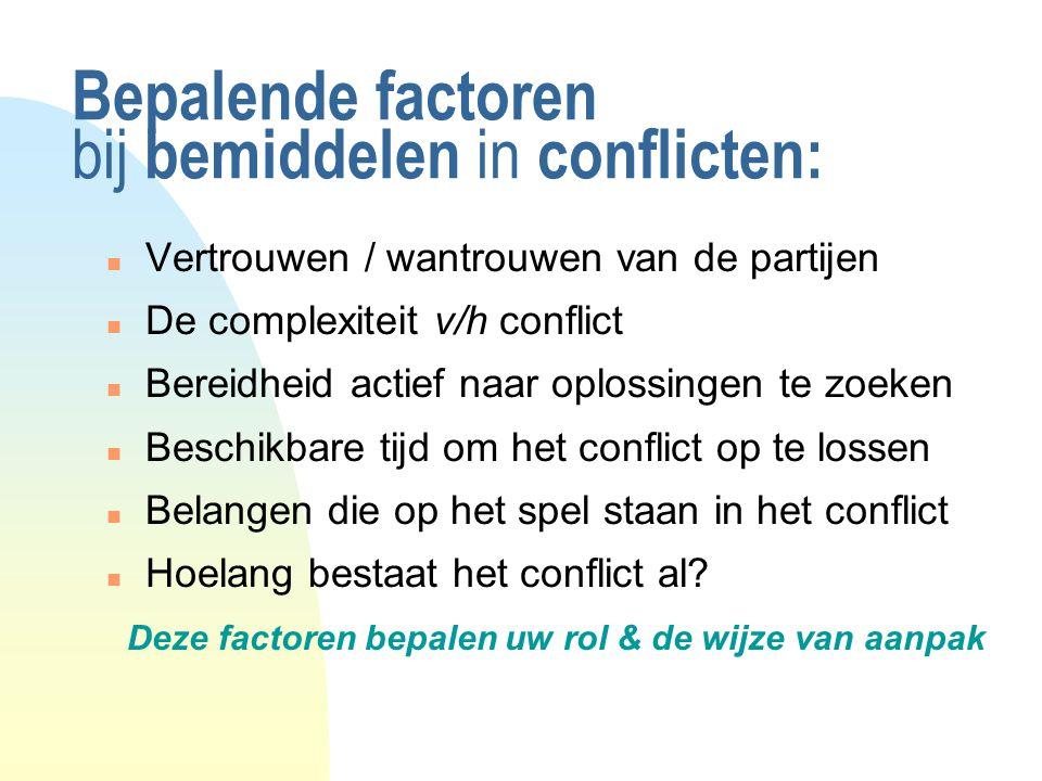 Bepalende factoren bij bemiddelen in conflicten: