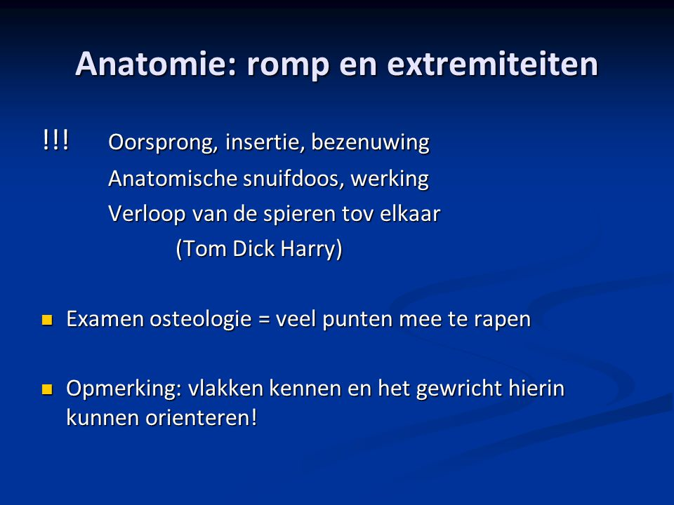 Anatomie: romp en extremiteiten