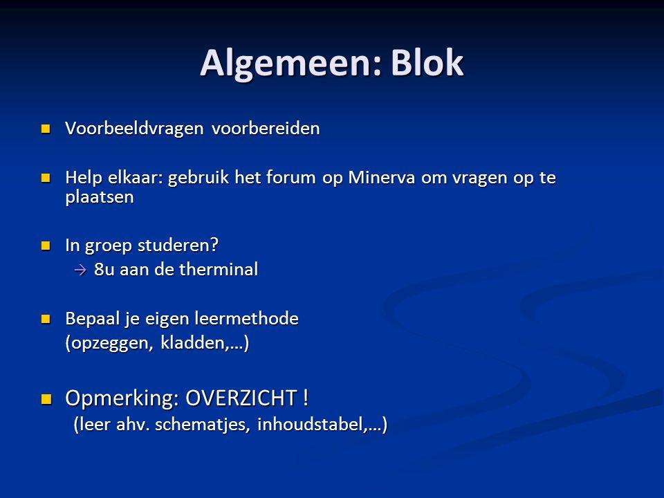Algemeen: Blok Opmerking: OVERZICHT ! Voorbeeldvragen voorbereiden