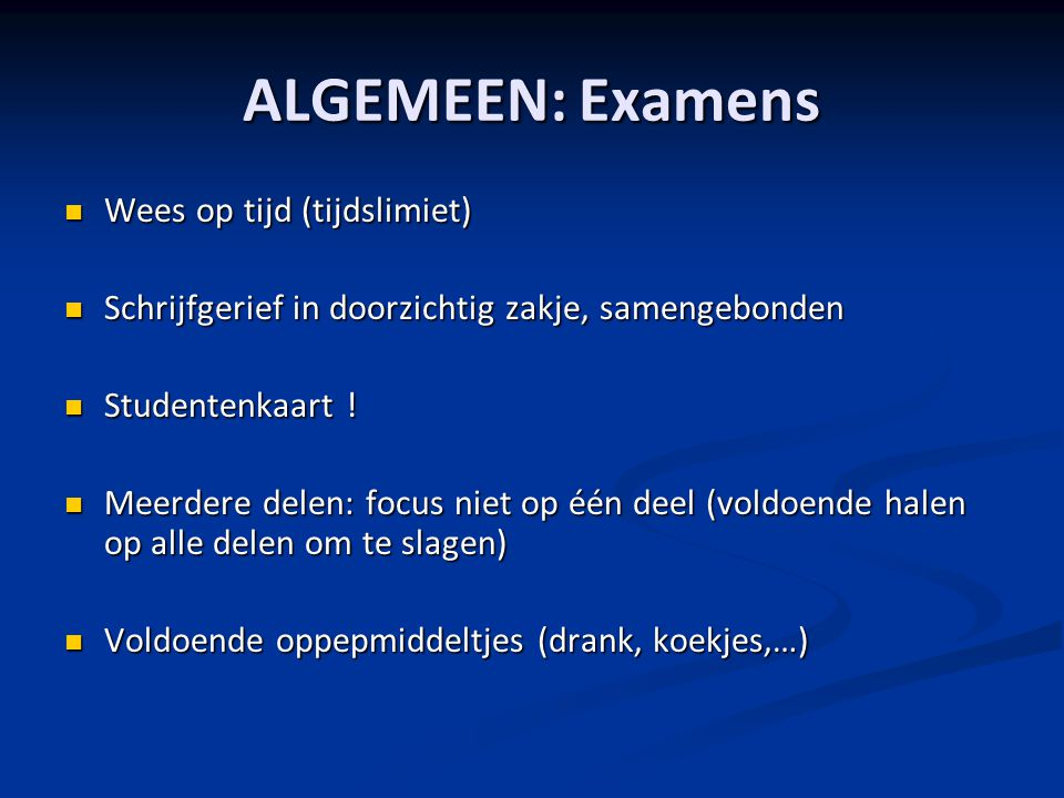 ALGEMEEN: Examens Wees op tijd (tijdslimiet)