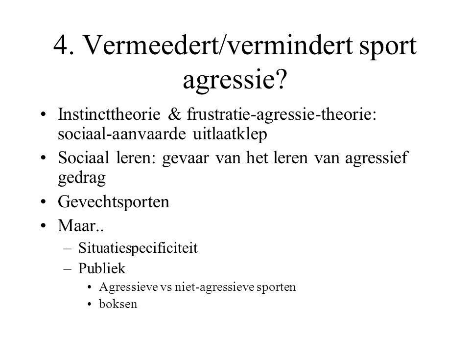 4. Vermeedert/vermindert sport agressie