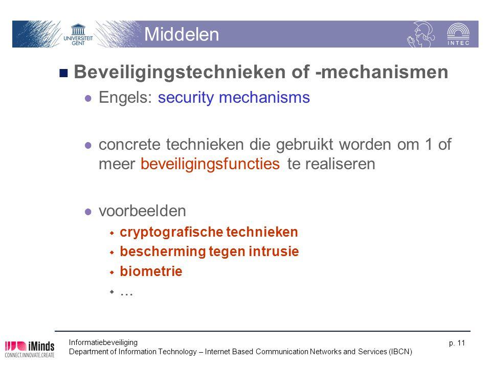 Beveiligingstechnieken of -mechanismen