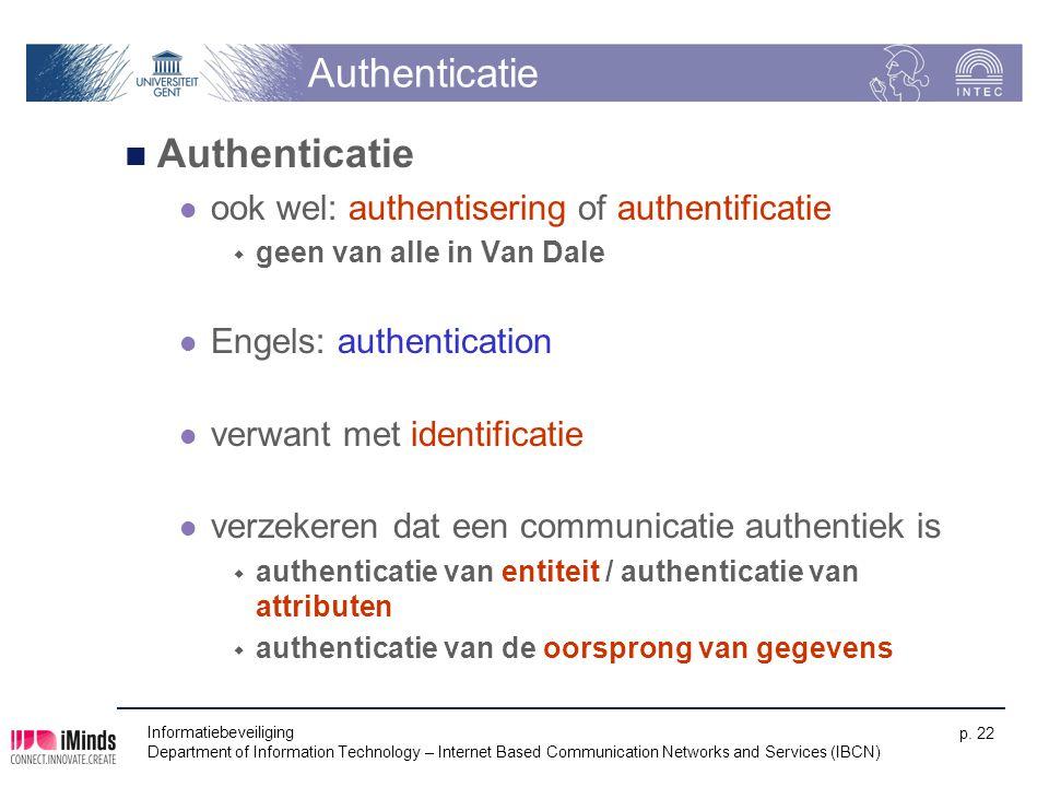 Authenticatie Authenticatie ook wel: authentisering of authentificatie