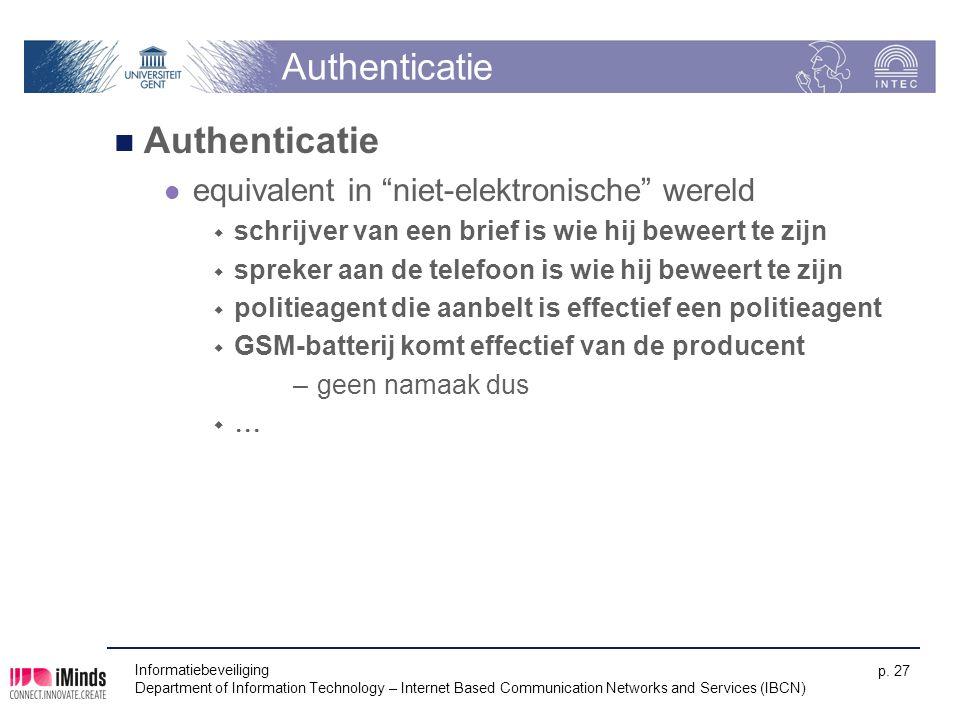 Authenticatie Authenticatie equivalent in niet-elektronische wereld