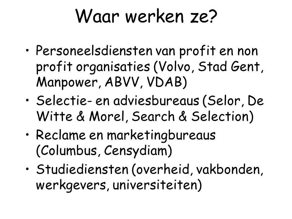 Waar werken ze Personeelsdiensten van profit en non profit organisaties (Volvo, Stad Gent, Manpower, ABVV, VDAB)