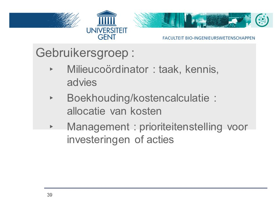 Gebruikersgroep : Milieucoördinator : taak, kennis, advies