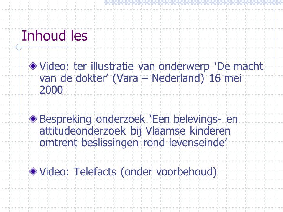 Inhoud les Video: ter illustratie van onderwerp 'De macht van de dokter' (Vara – Nederland) 16 mei 2000.