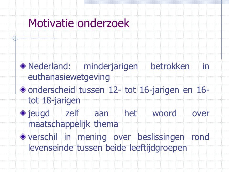 Motivatie onderzoek Nederland: minderjarigen betrokken in euthanasiewetgeving. onderscheid tussen 12- tot 16-jarigen en 16- tot 18-jarigen.