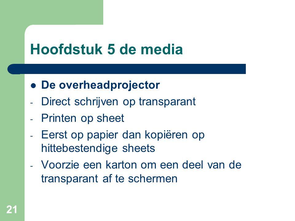 Hoofdstuk 5 de media De overheadprojector