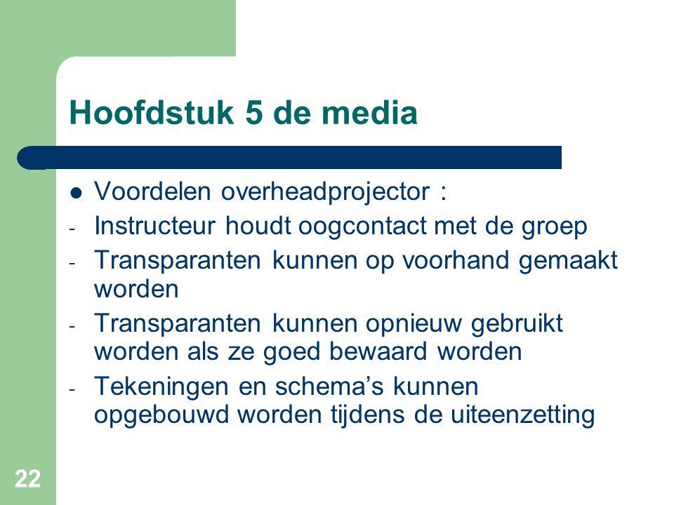 Hoofdstuk 5 de media Voordelen overheadprojector :