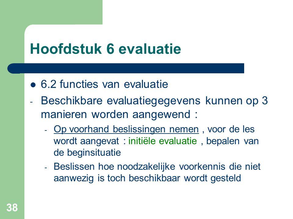 Hoofdstuk 6 evaluatie 6.2 functies van evaluatie