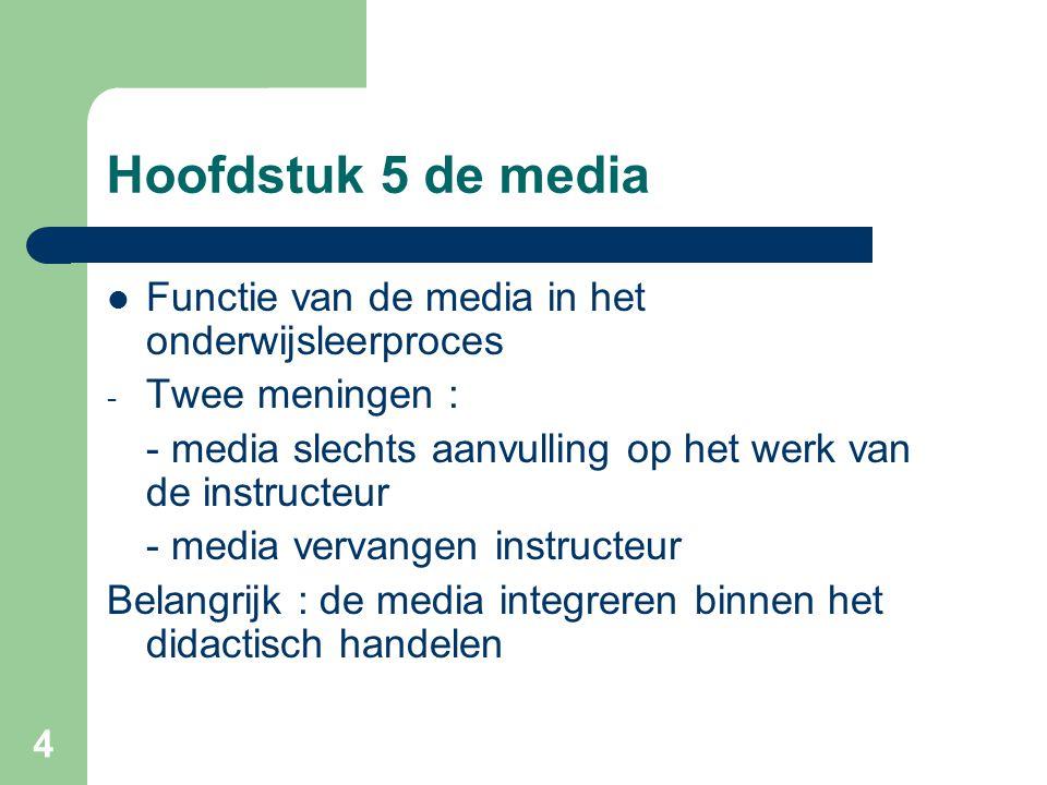 Hoofdstuk 5 de media Functie van de media in het onderwijsleerproces