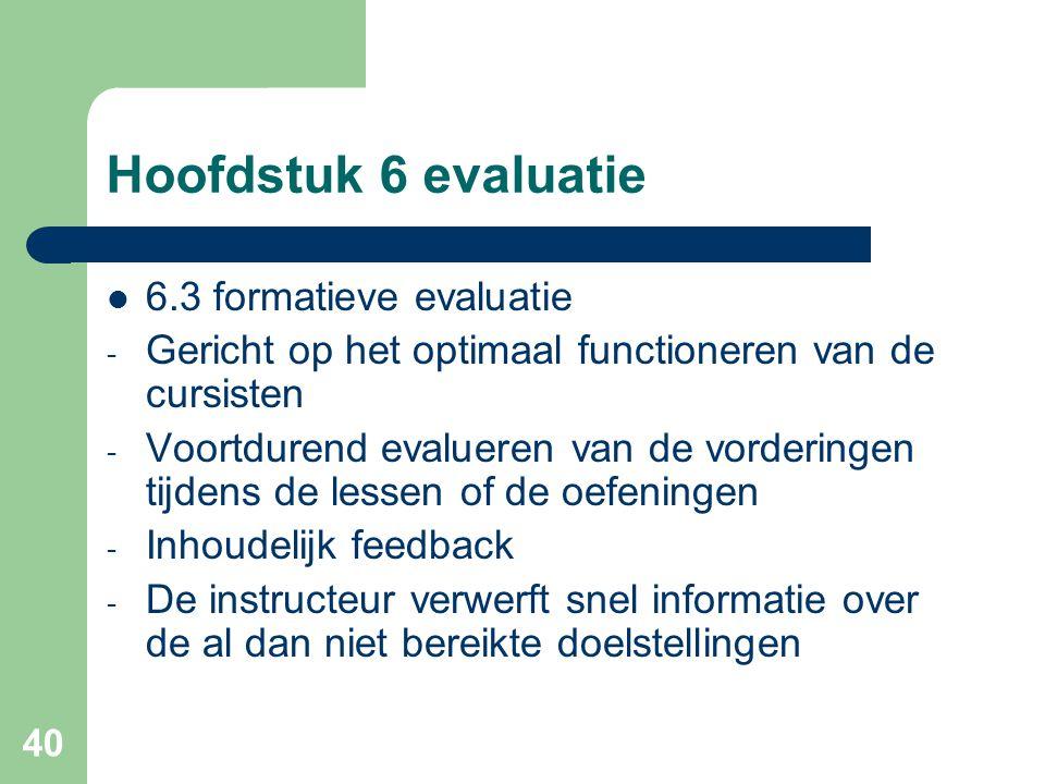 Hoofdstuk 6 evaluatie 6.3 formatieve evaluatie
