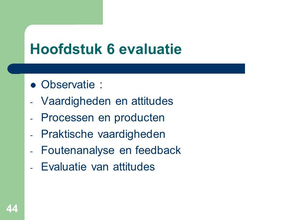 Hoofdstuk 6 evaluatie Observatie : Vaardigheden en attitudes