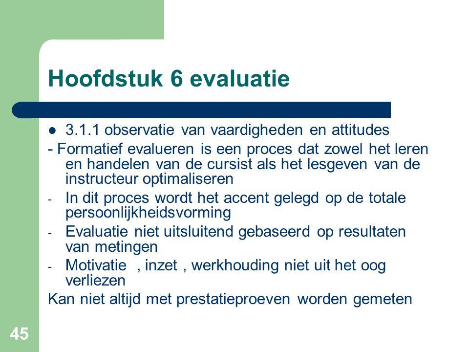 Hoofdstuk 6 evaluatie 3.1.1 observatie van vaardigheden en attitudes