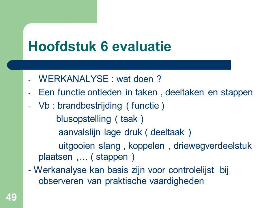 Hoofdstuk 6 evaluatie WERKANALYSE : wat doen