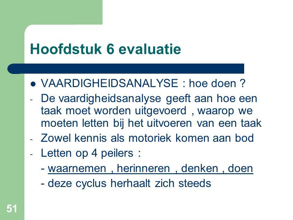Hoofdstuk 6 evaluatie VAARDIGHEIDSANALYSE : hoe doen