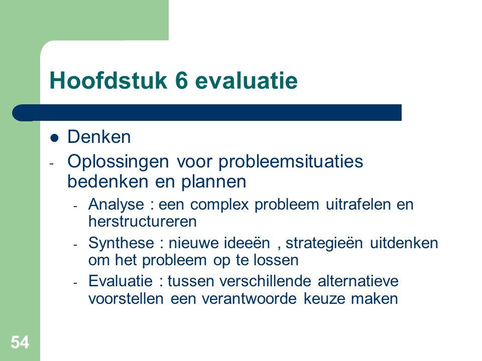 Hoofdstuk 6 evaluatie Denken