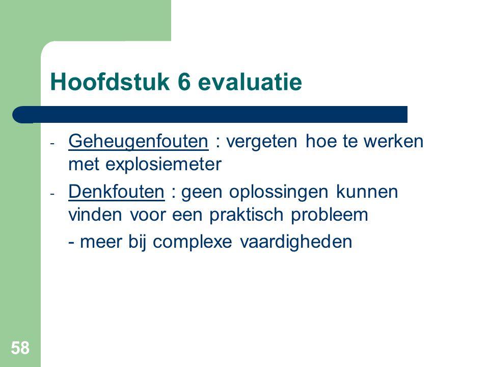 Hoofdstuk 6 evaluatie Geheugenfouten : vergeten hoe te werken met explosiemeter.