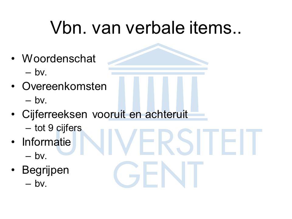 Vbn. van verbale items.. Woordenschat Overeenkomsten