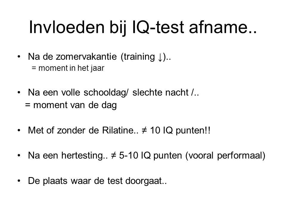 Invloeden bij IQ-test afname..