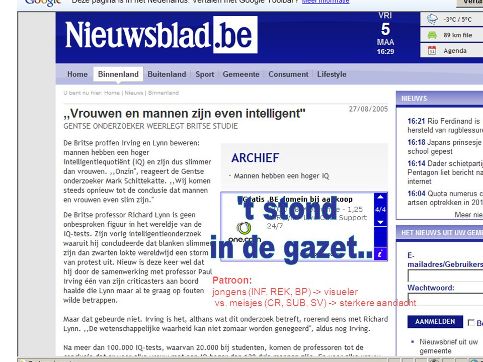 t stond in de gazet.. Patroon: jongens (INF, REK, BP) -> visueler