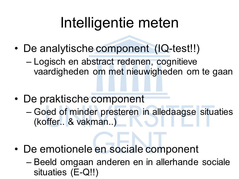 Intelligentie meten De analytische component (IQ-test!!)