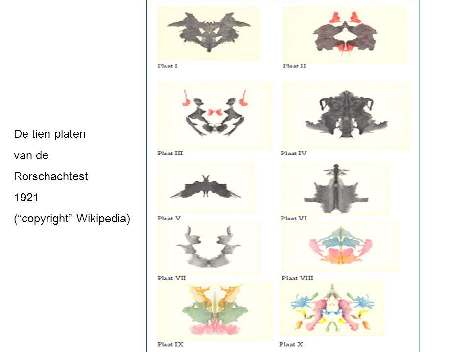 De tien platen van de Rorschachtest 1921 ( copyright Wikipedia)