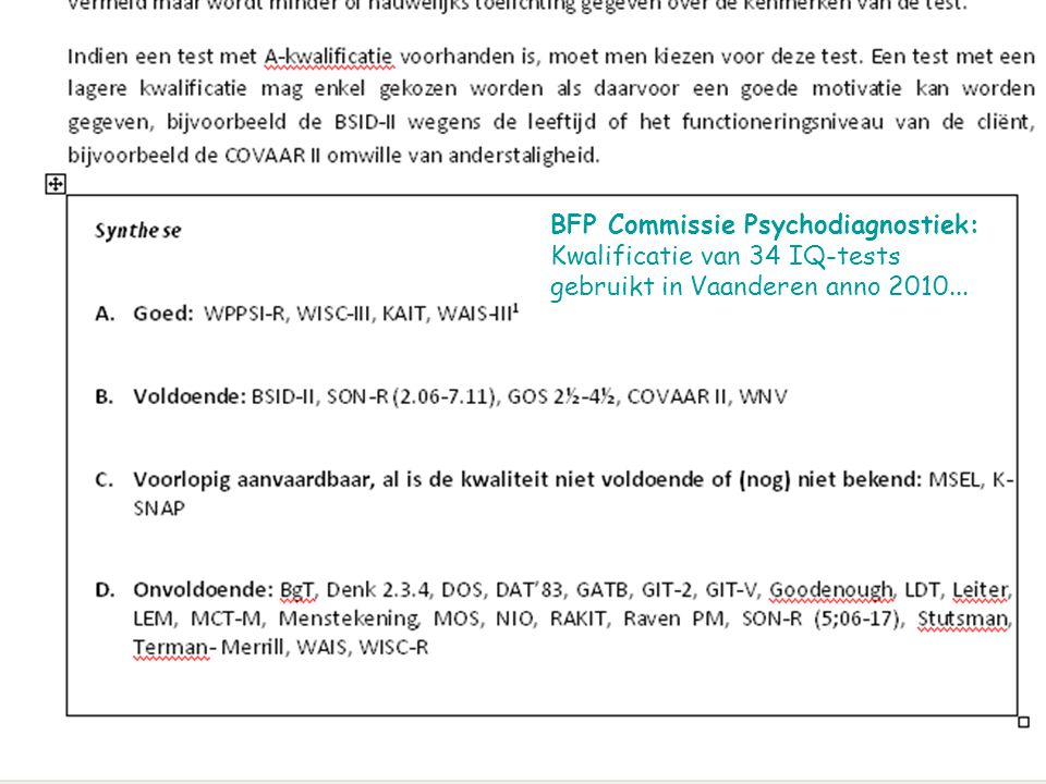 BFP Commissie Psychodiagnostiek: Kwalificatie van 34 IQ-tests gebruikt in Vaanderen anno 2010...