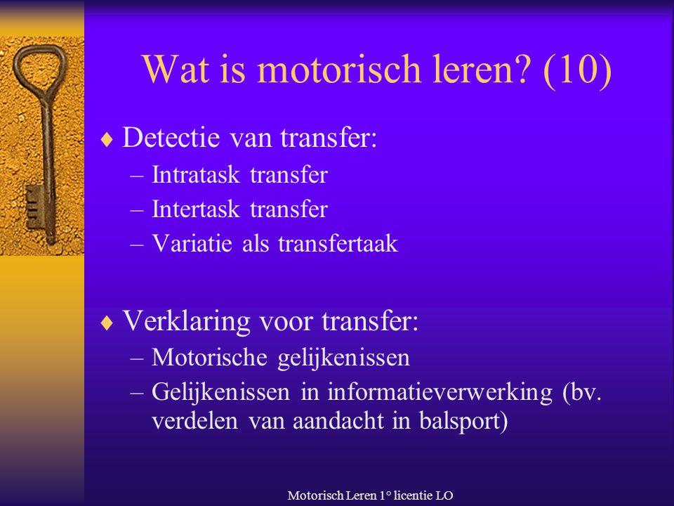 Wat is motorisch leren (10)