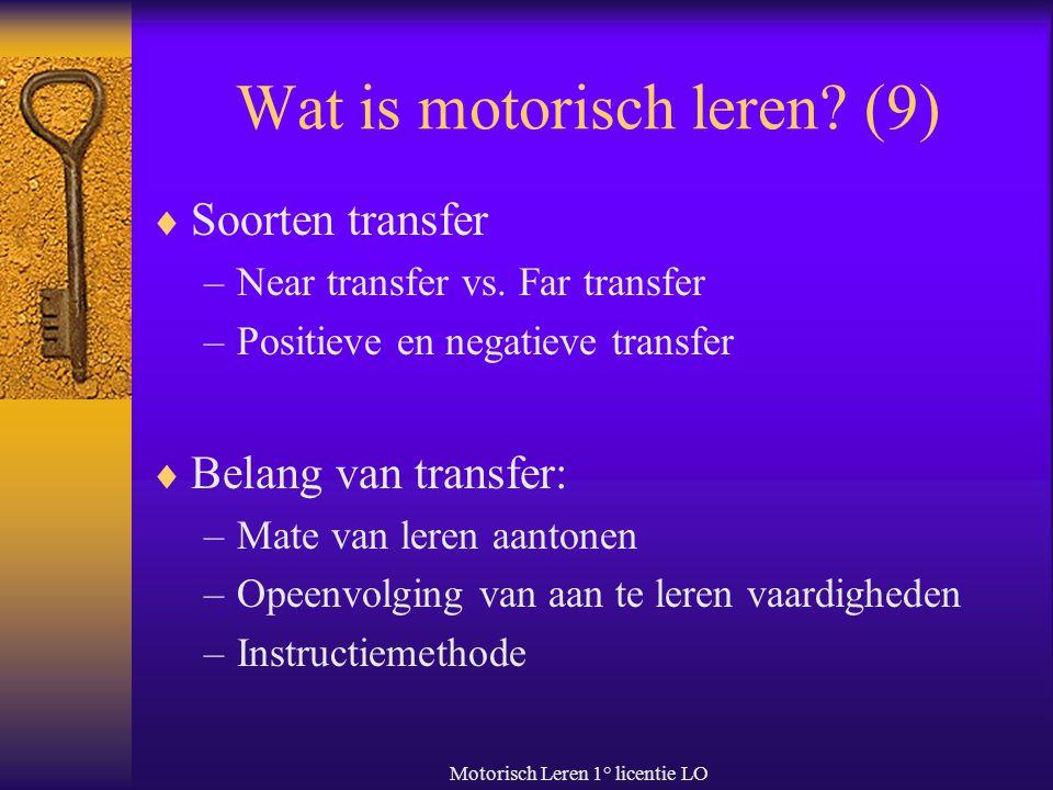 Wat is motorisch leren (9)