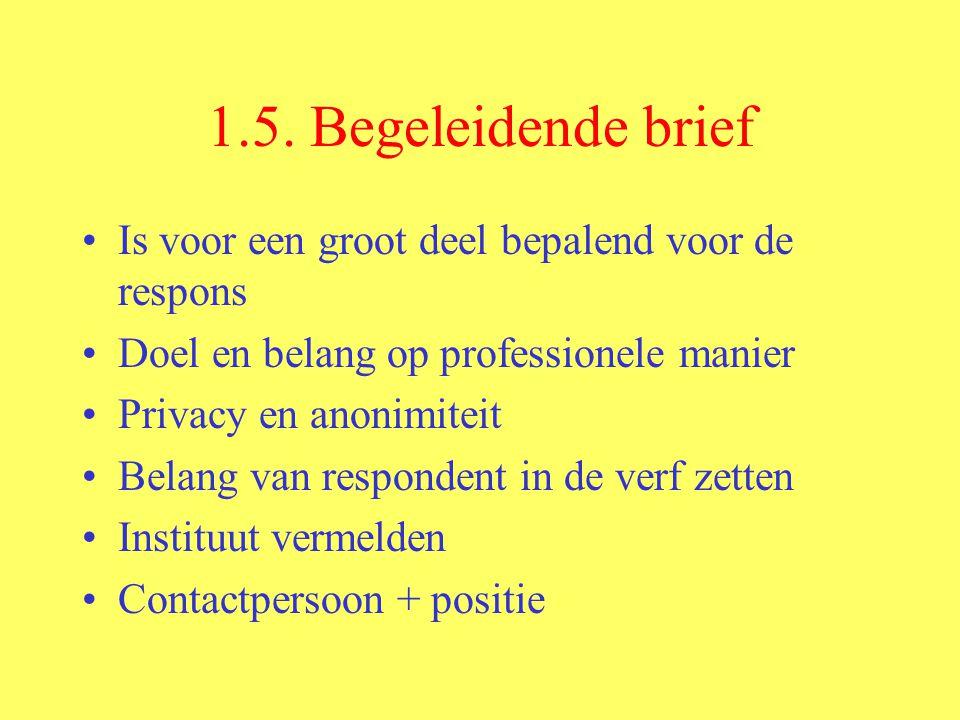1.5. Begeleidende brief Is voor een groot deel bepalend voor de respons. Doel en belang op professionele manier.