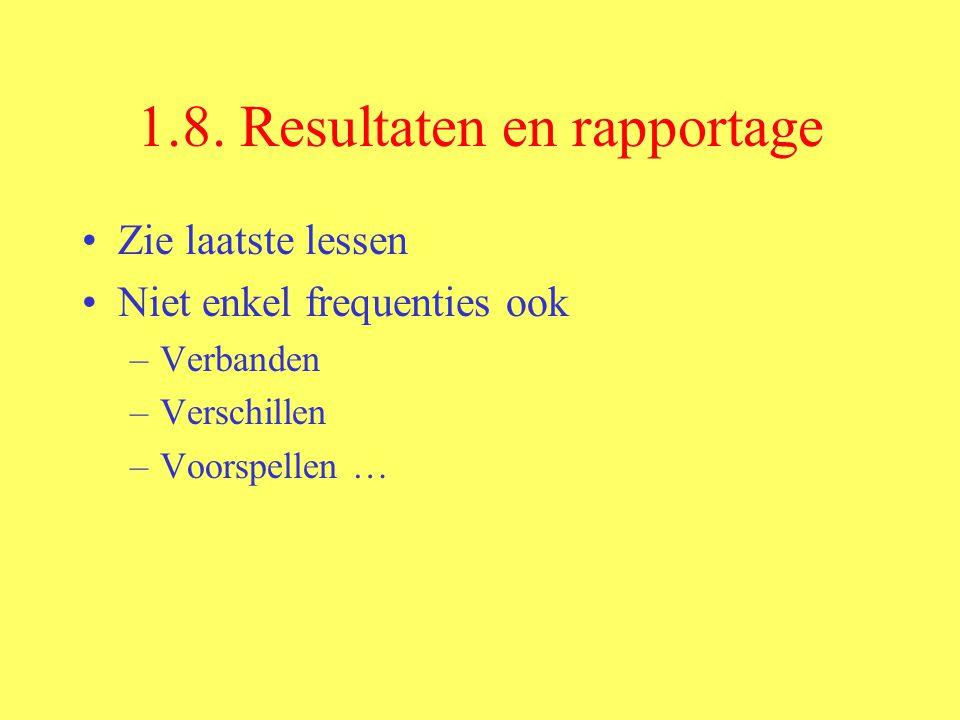1.8. Resultaten en rapportage