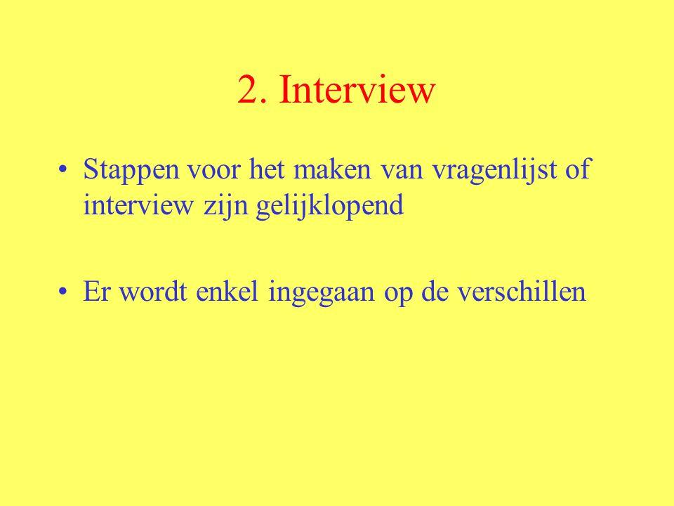 2. Interview Stappen voor het maken van vragenlijst of interview zijn gelijklopend.