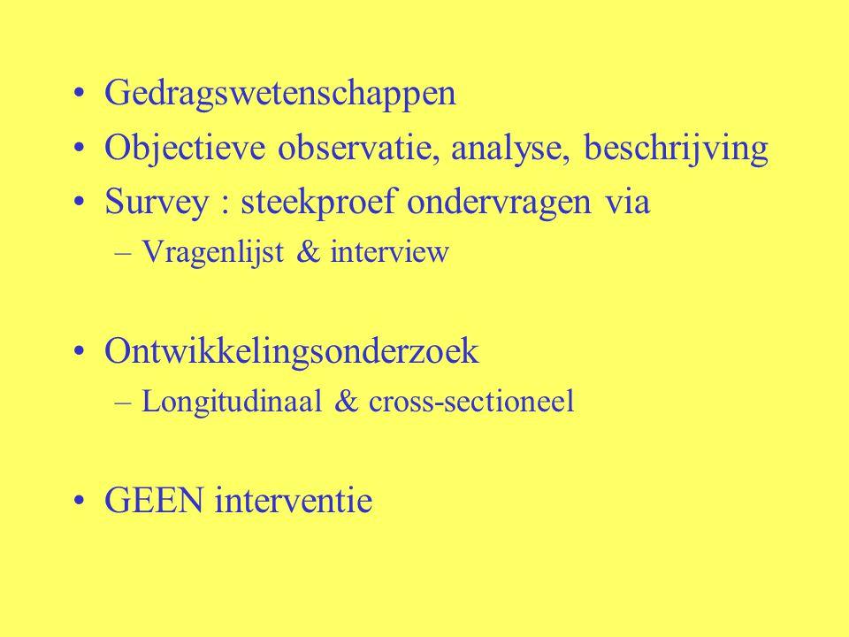 Gedragswetenschappen Objectieve observatie, analyse, beschrijving