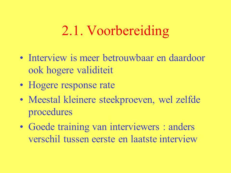 2.1. Voorbereiding Interview is meer betrouwbaar en daardoor ook hogere validiteit. Hogere response rate.