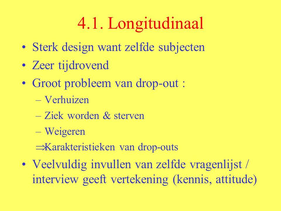 4.1. Longitudinaal Sterk design want zelfde subjecten Zeer tijdrovend