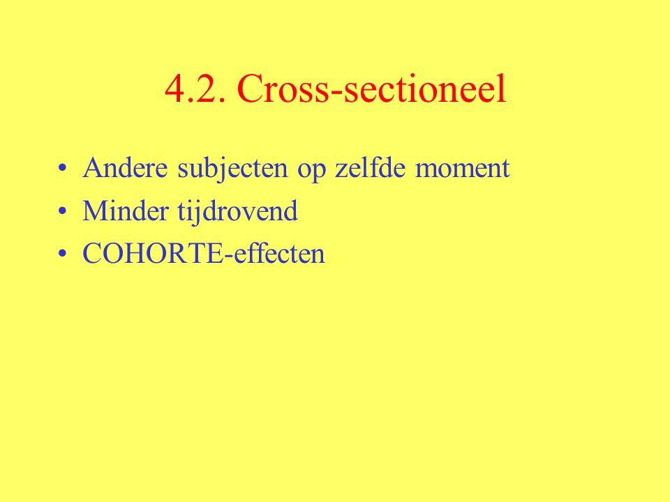 4.2. Cross-sectioneel Andere subjecten op zelfde moment