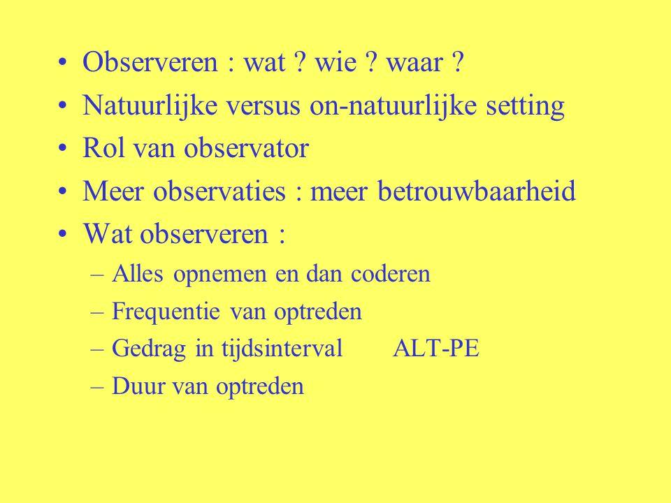 Observeren : wat wie waar