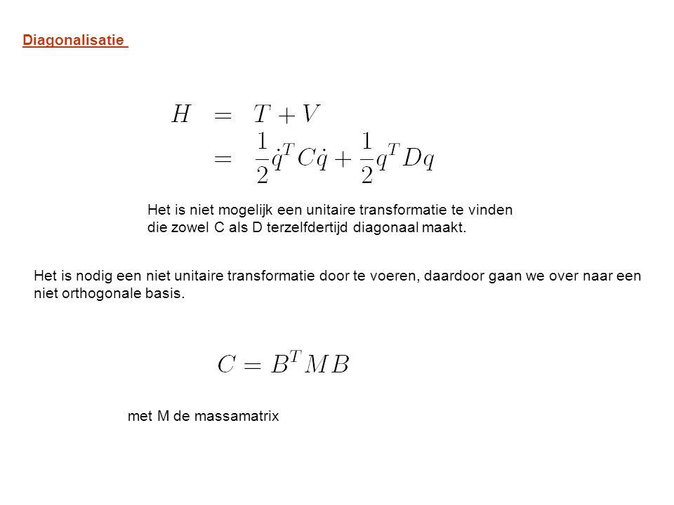 Diagonalisatie Het is niet mogelijk een unitaire transformatie te vinden. die zowel C als D terzelfdertijd diagonaal maakt.