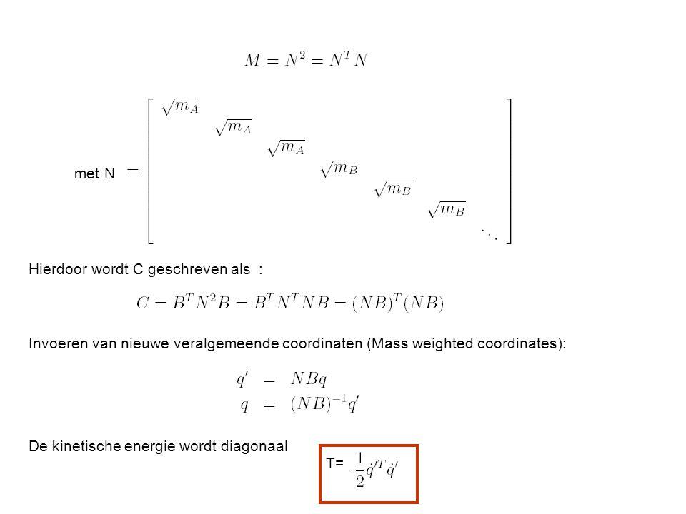 met N Hierdoor wordt C geschreven als : Invoeren van nieuwe veralgemeende coordinaten (Mass weighted coordinates):
