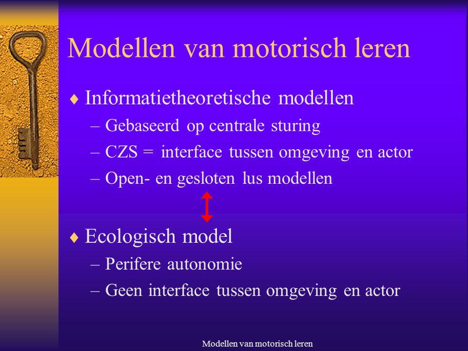 Modellen van motorisch leren