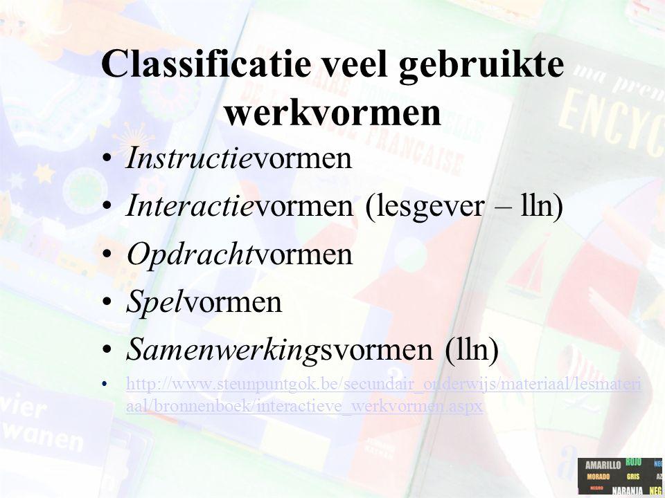 Classificatie veel gebruikte werkvormen