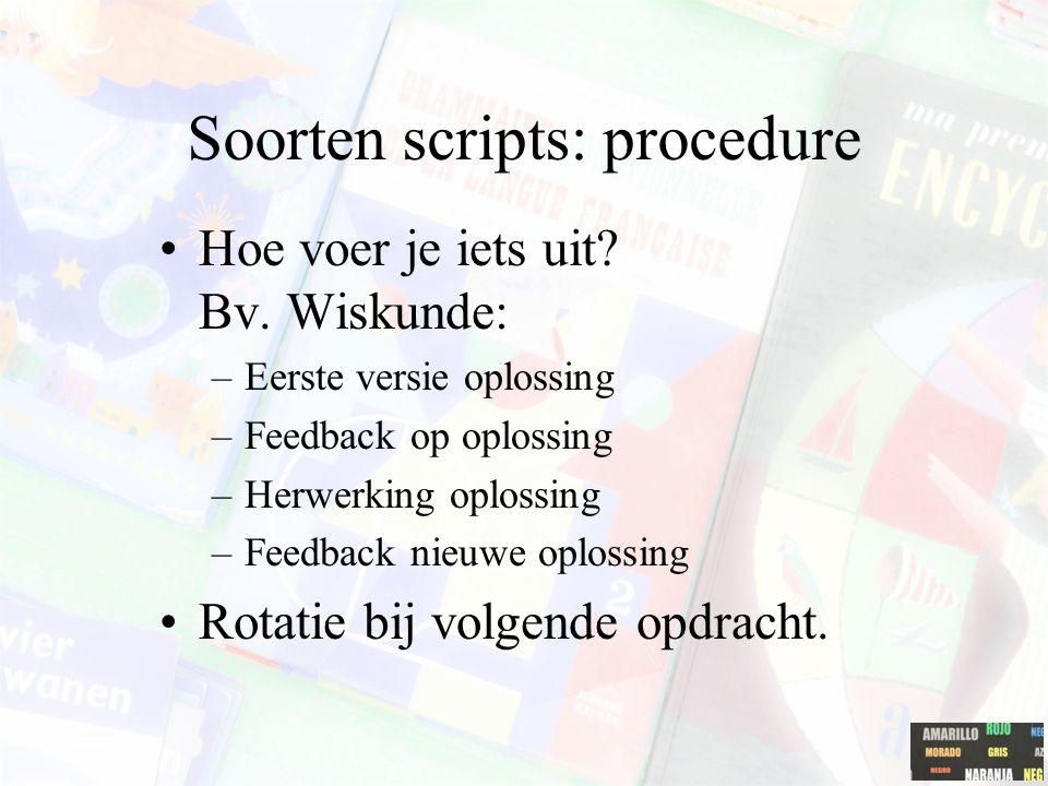 Soorten scripts: procedure