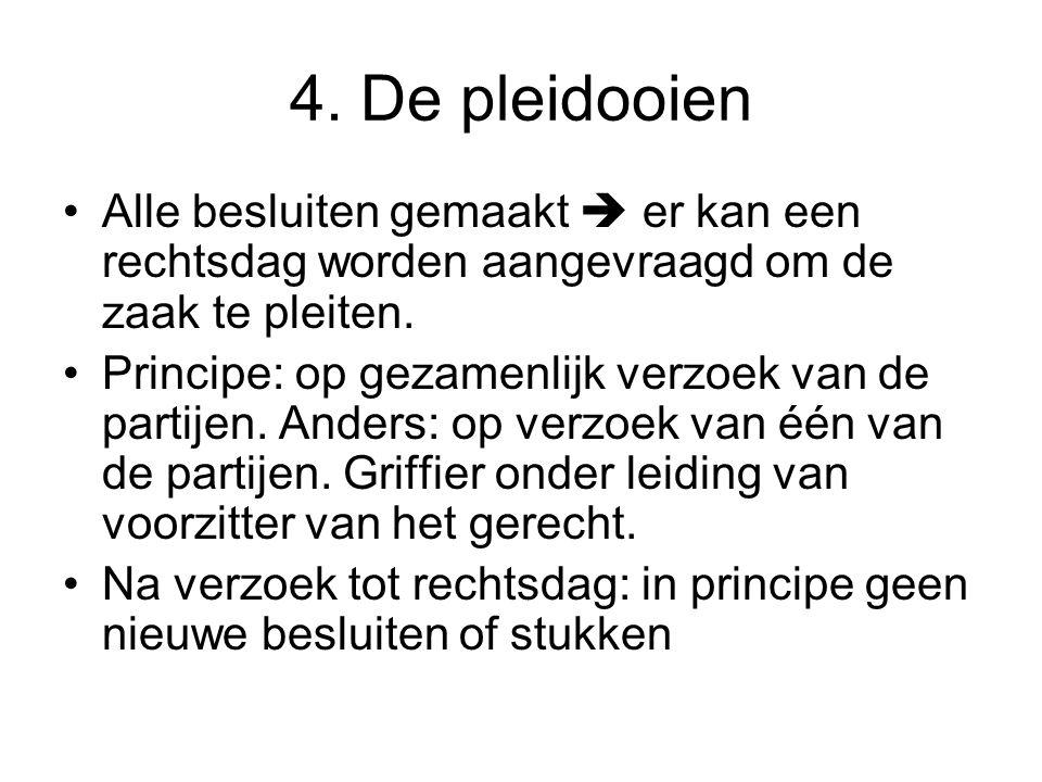 4. De pleidooien Alle besluiten gemaakt  er kan een rechtsdag worden aangevraagd om de zaak te pleiten.