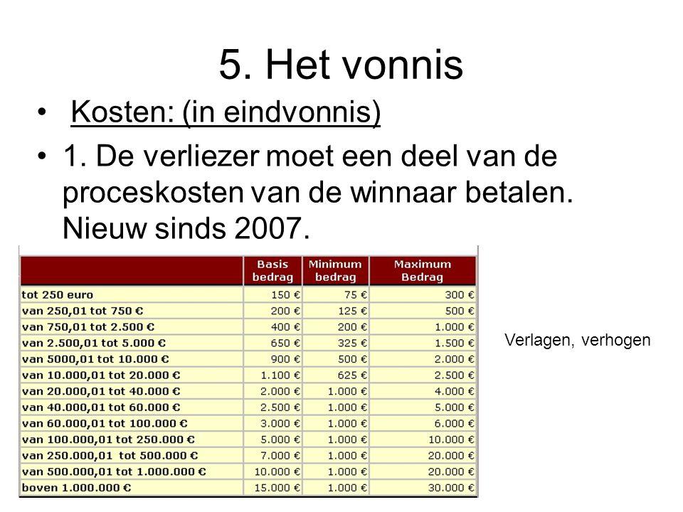 5. Het vonnis Kosten: (in eindvonnis)
