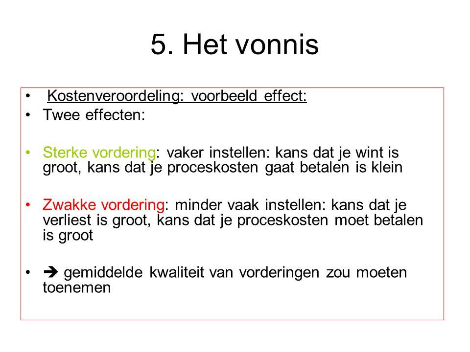 5. Het vonnis Kostenveroordeling: voorbeeld effect: Twee effecten: